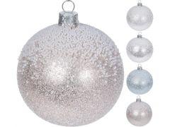 K Kerstbal Mondgeblazen, 10Cm Glitter En Sneeuw 4 Assortiment Prijs Per Stuk