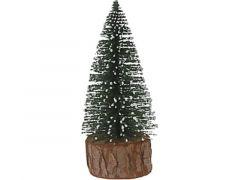 K Kerstboompje Met Houten Voet, 7X7X14Cm, Groen Met Sneeuw