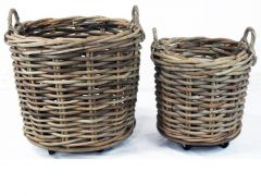 Basket Rattan Cl Grey On Wheels D65X60Cm Groot