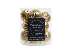 Kerstbal Glas Ribbel Glans-Mat Dia3Cm Licht Goud