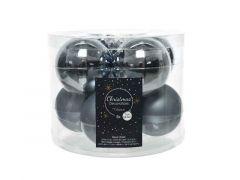 Kerstbal Glas Glans-Mat Dia7Cm Steen Blauw