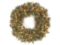 Glittery Bristle Wreath 12 Cones 61Cm With 50 Led