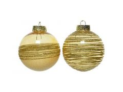 Kerstbal Plastic Glitter Dia8Cm Licht Goud 2 Assortimenten Prijs Per Stuk