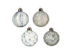 Kerstbal Glas Streep Dia8Cm Blauw 4 Assortimenten Prijs Per Stuk