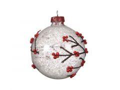 Kerstbal Glas Tak Sneeuw Dia8Cm Zilver