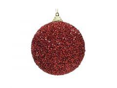 Kerstbal Foam Glitter Kraal Dia8Cm Rood