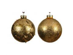 Kerstbal Glas Goud Blad D8Cm 2 Assortimenten Prijs Per Stuk