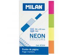Milan Bookmarks 50X20Mm 4 Fluo Kleuren X40St