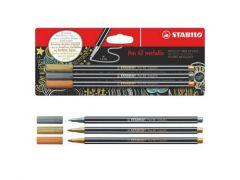 Stabilo Pen 68 Metallic 3Pc Blister