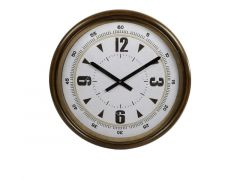 Hamilton Wallclock Metal Double Ring Brown