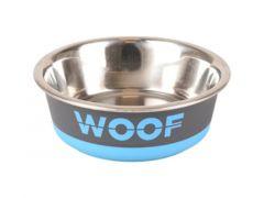 Eetpot Woof Grijs/Blauw 400Ml 14Cm