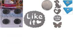 Tafelkleedgewichten Set Van 4 Stuks Metaal - 5X6Cm - 180 Gram 4  Assortiment Prijs Per Stuk Design