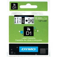 Dymo Tape D1 12Mm Zwart/Wit