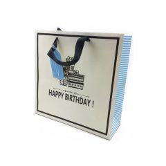 Geschenktas Happy Birthday Blauw 28X28X10Cm