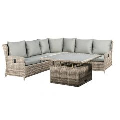 Almeria Lounge Dining Set Met Up&Down Tafel White Grey Wicker