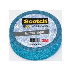Scotch Expressions Tape Refill Glitter Blauw 15Mmx 5Mm