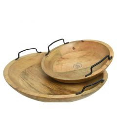Mango Wood Tray Round W Handle Natural Dia29X10.5Cm