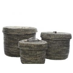 Corn Grass Basket W Handle Grey Dia22X17Cm