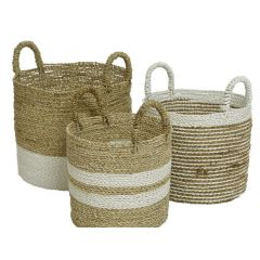 Seagrass Basket Stripes Natural/Colour(S) Dia33.5X41Cm