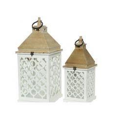 Firwood Lantern W Cutout Natural/Colour(S) 22X22X55Cm