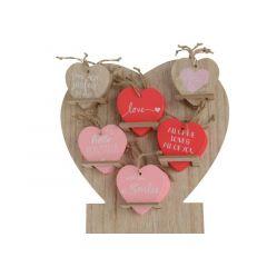 Mdf Heart W Hanger W Text 6Ass Assorted 0.3X8X8Cm