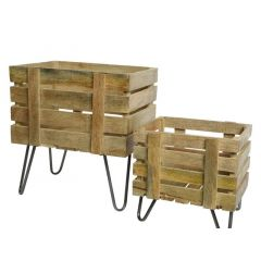 Mango Wood Planter W Iron Feet Natural 30X40X43Cm
