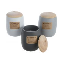 Wax Candle In Cement Pot 3Cls Assorted Dia9X11Cm