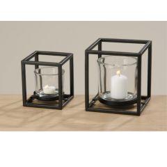 Quattro Windlicht Metaal/Glas H18Cm Zwart, 1 stuk