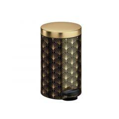 Pedaalemmer Art Deco 5L Brushed Steel 18.6X25.3Xh24.1Cm