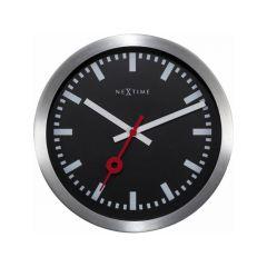 Nextime Table/ Wall Clock - 19.0 Ø X 3.5 Cm - Aluminium, Glass - Black - 'Station'