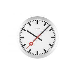 Nextime Wall Clock - Ø 34.8 X 4.5 Cm - Aluminium - Brushed - 'Station'