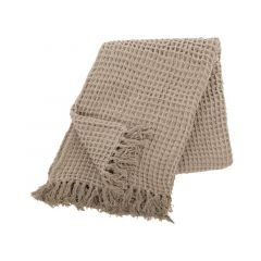 Plaid Cotton Waffle 130X170Cm, Taupe