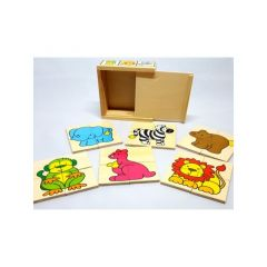 Puzzel Hout Dieren In Houten Kistje 11.3X11.3X4.5Cm 2 Assortimenten Prijs Per Stuk