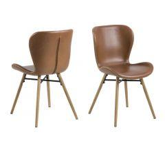 Batilda Dining Chair Leather Look Retro Brandy