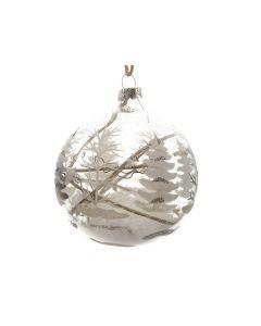 K Gl Bauble W Tree W Deco Inside White Dia8Cm -