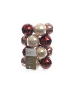 K Gl Baubles Pearl- Red Mix Assortiment Per Stuk Dia6Cm