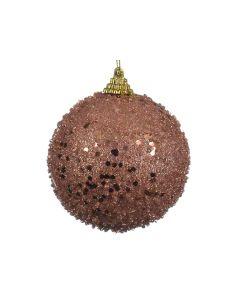 K Foam Bauble Glitter Pink Champagne Dia8Cm