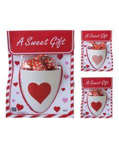 Beker Hart Pralines 2 Ass Kleuren (Wit-Roos/Wit-Paars) Met 60Gr Chocolade