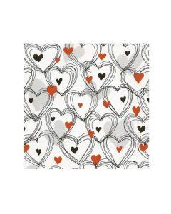 Paper Design Servetten 33X33Cm 20St. Shower Of Hearts Red