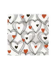 Paper Design Servetten 25X25Cm 20St. Shower Of Hearts Red